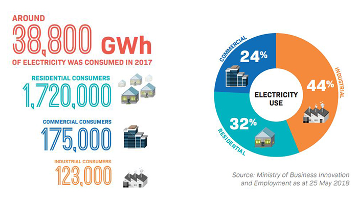 How much electricity is consumed in New Zealand