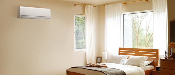 Heat pump in a bedroom