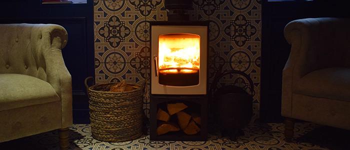 Wood burner in a living room